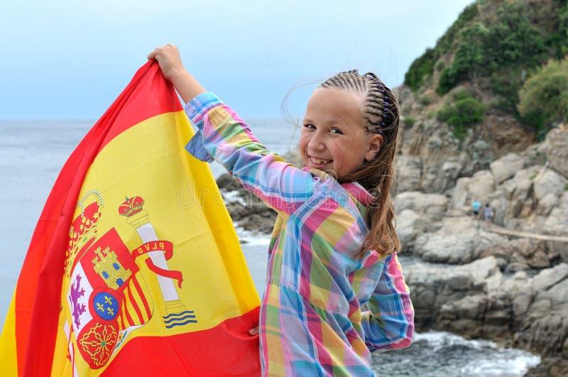 Muchacha con la bandera española imágenes de archivo libres de regalías