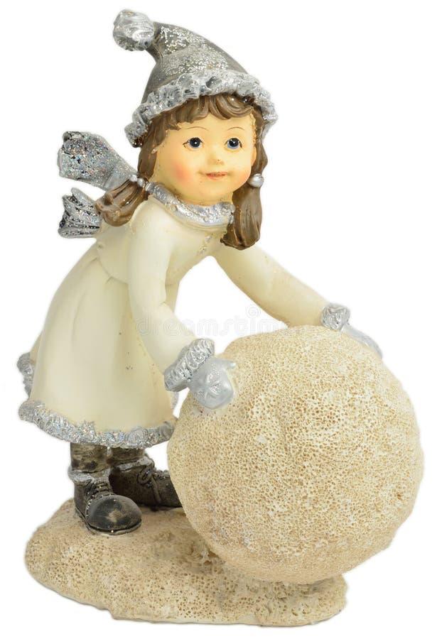 Muchacha con la bola de la nieve imágenes de archivo libres de regalías