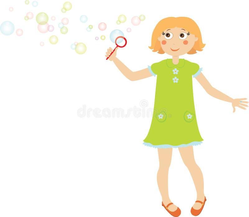Muchacha con la burbuja de jabón stock de ilustración