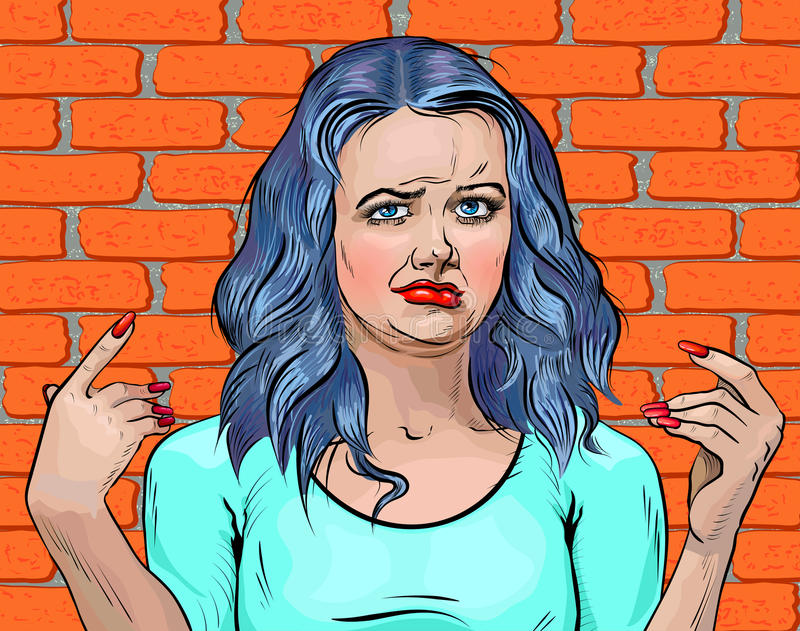 Muchacha con la cara asqueada y los brazos del pelo azul para arriba ilustración del vector