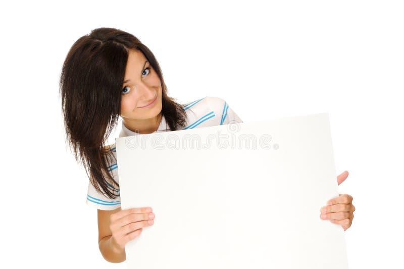 Muchacha con la cartelera imagen de archivo