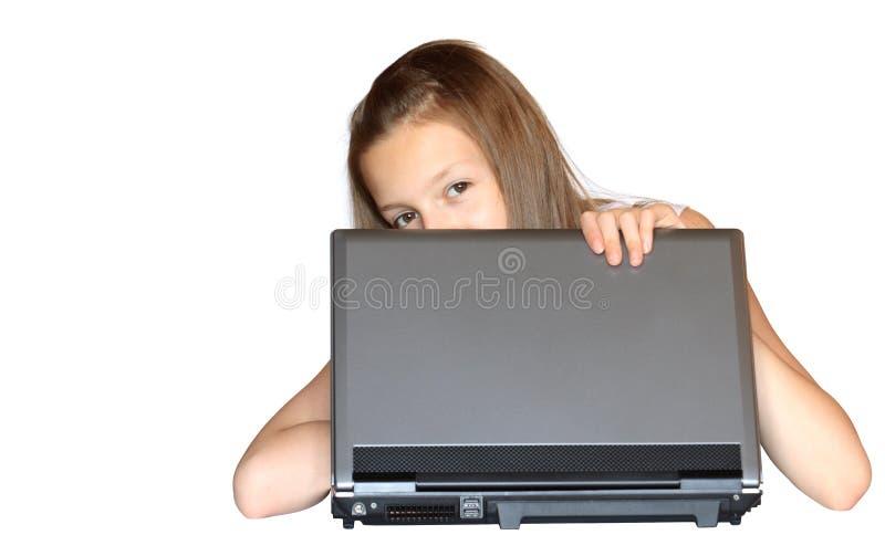 Muchacha con la computadora portátil fotos de archivo libres de regalías