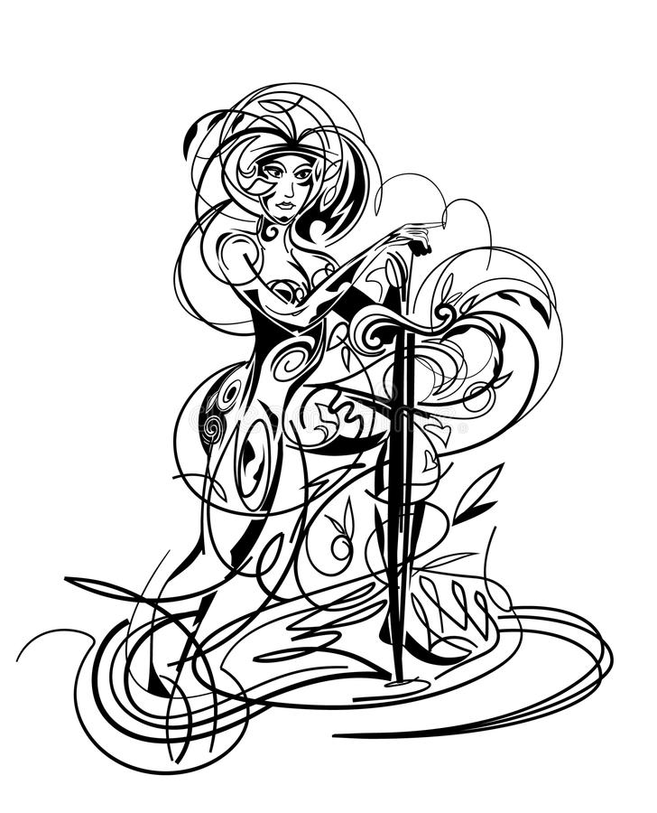 Muchacha con la espada libre illustration