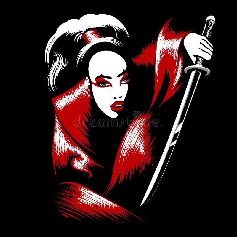 Muchacha con la espada del katana ilustración del vector