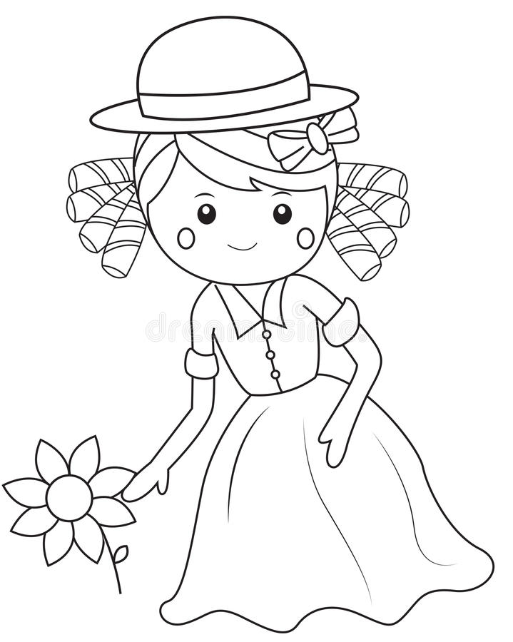 Muchacha con la flor libre illustration