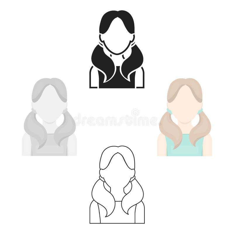 Muchacha con la historieta del icono de las colas Solo avatar, icono del peaople de la historieta grande del avatar ilustración del vector