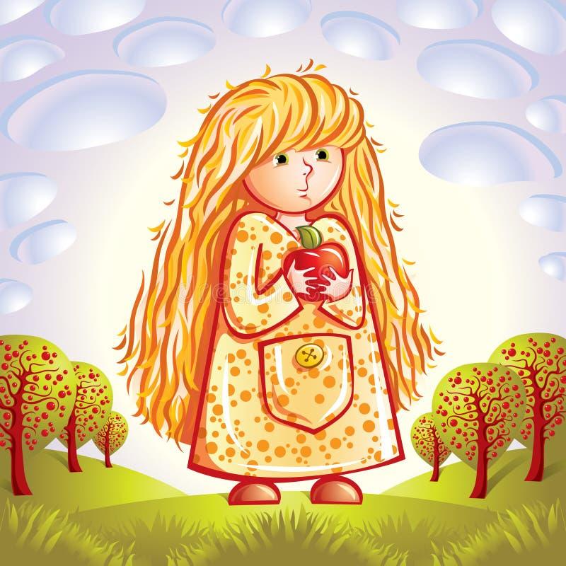 Muchacha con la manzana ilustración del vector