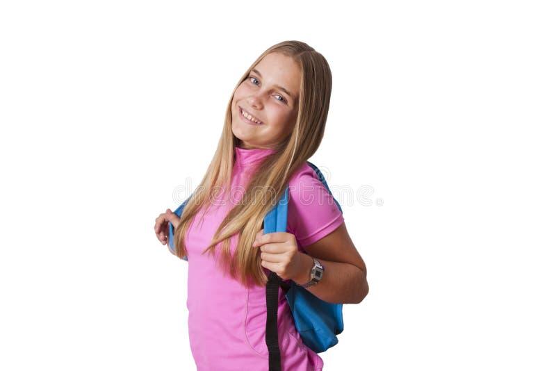 Muchacha con la mochila fotografía de archivo