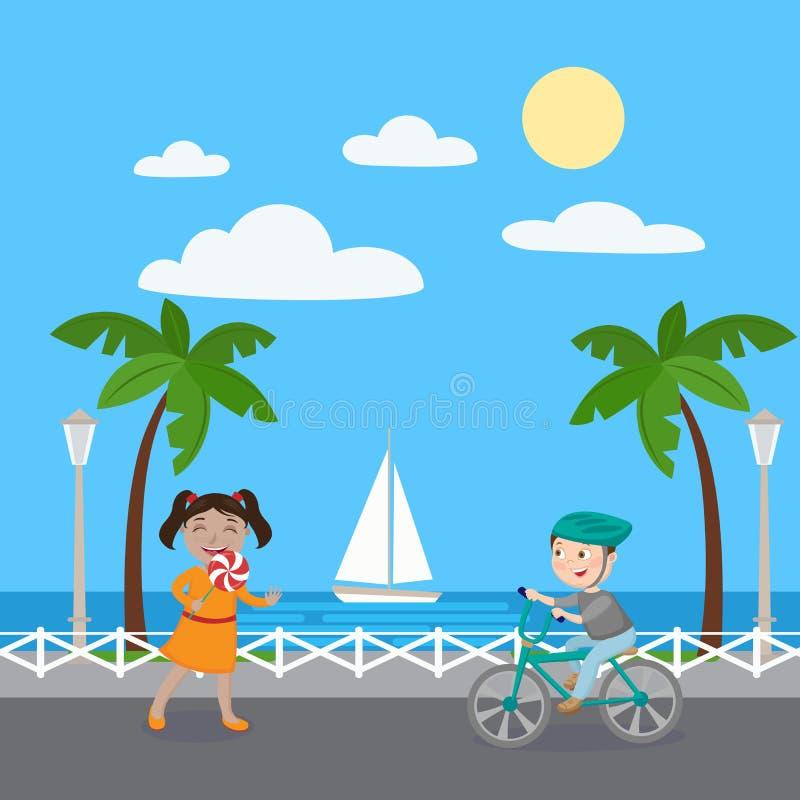 Muchacha con la piruleta Muchacho en la bicicleta Niños el vacaciones stock de ilustración
