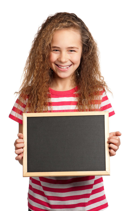 Muchacha con la pizarra fotos de archivo libres de regalías