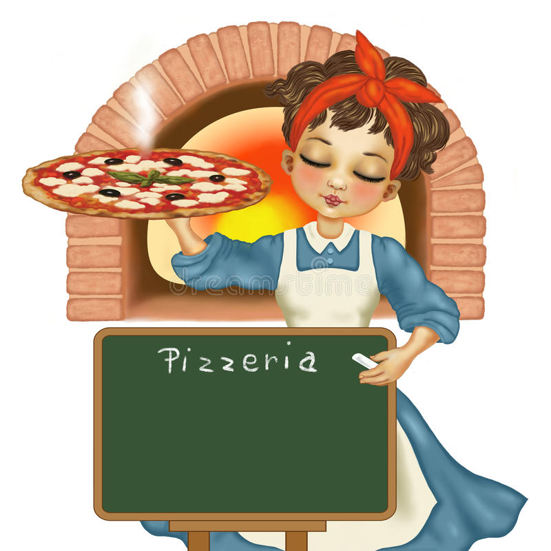 muchacha con la pizza stock de ilustración