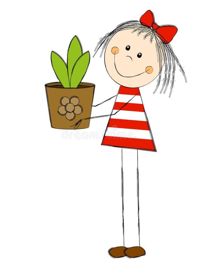 Muchacha con la planta ilustración del vector