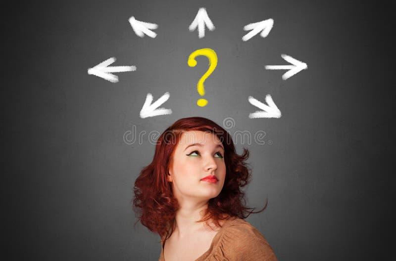 Muchacha con la pregunta y el concepto de la direcci?n fotos de archivo