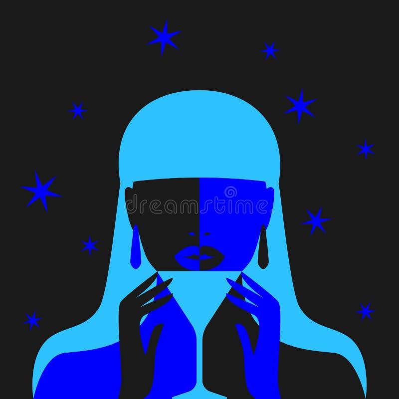 Muchacha con la silueta del cóctel en fondo negro libre illustration