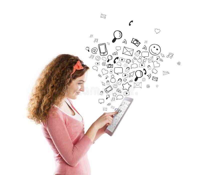 Muchacha con la tableta fotos de archivo