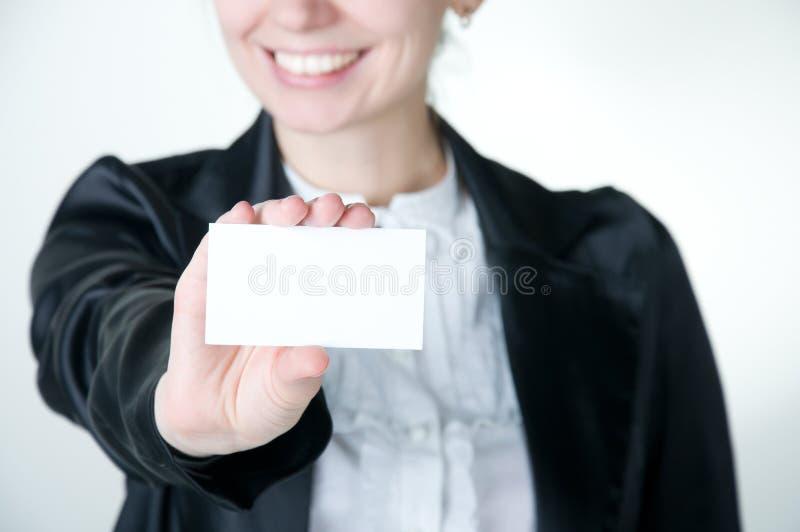 Muchacha con la tarjeta imagenes de archivo