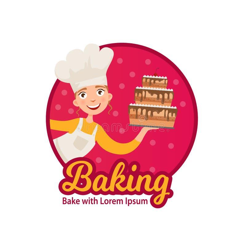 Muchacha con la torta stock de ilustración