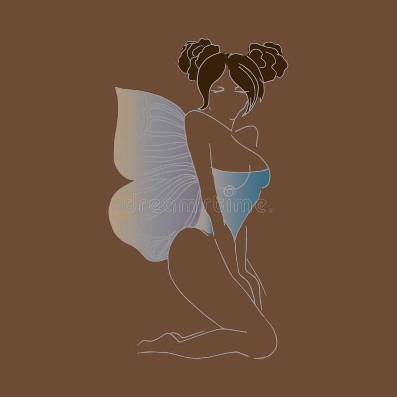 Muchacha con las alas, azul, mano-dibujo del ejemplo libre illustration