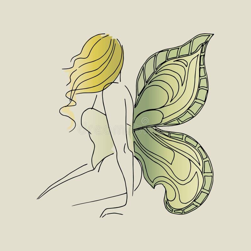 Muchacha con las alas, mariposa del ejemplo stock de ilustración