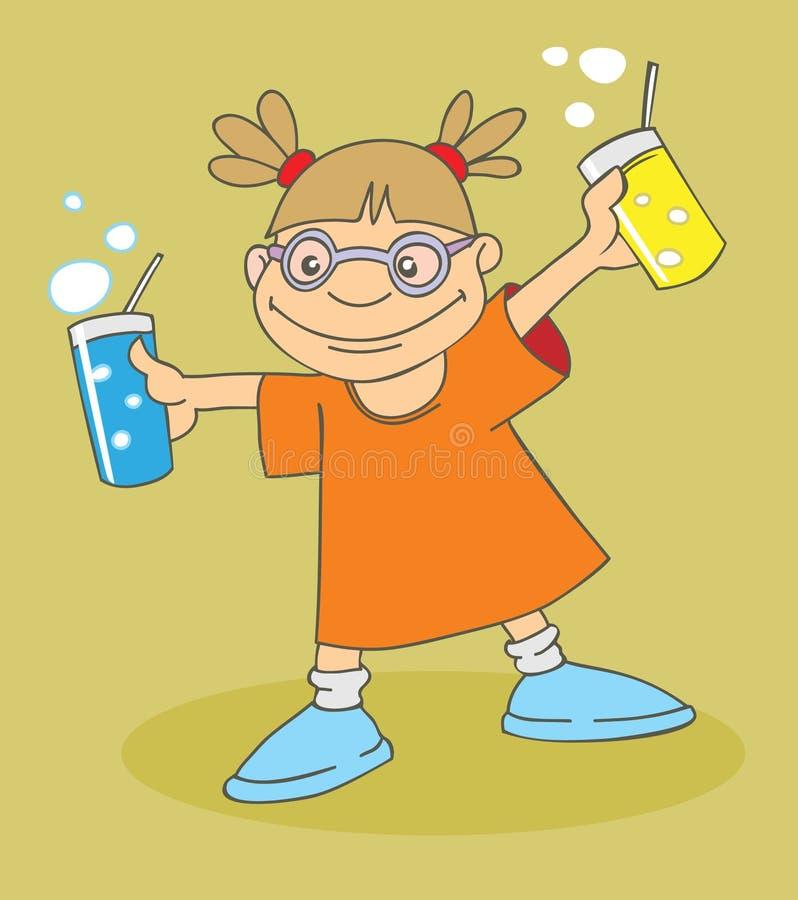 muchacha con las bebidas ilustración del vector