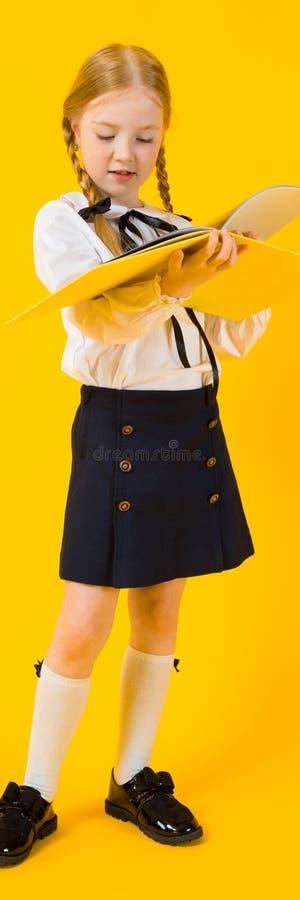 Muchacha con las coletas rojas en un fondo amarillo Volutas hermosas de la muchacha a través de una carpeta con los documentos fotografía de archivo