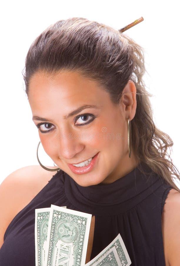Muchacha con las cuentas de dólar fotografía de archivo