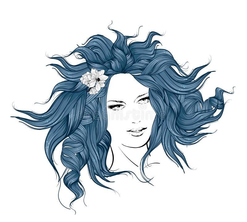 Muchacha con las flores en su pelo stock de ilustración