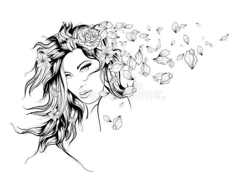 Muchacha con las flores en su pelo ilustración del vector