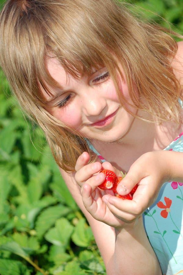 Muchacha con las fresas en el campo fotos de archivo