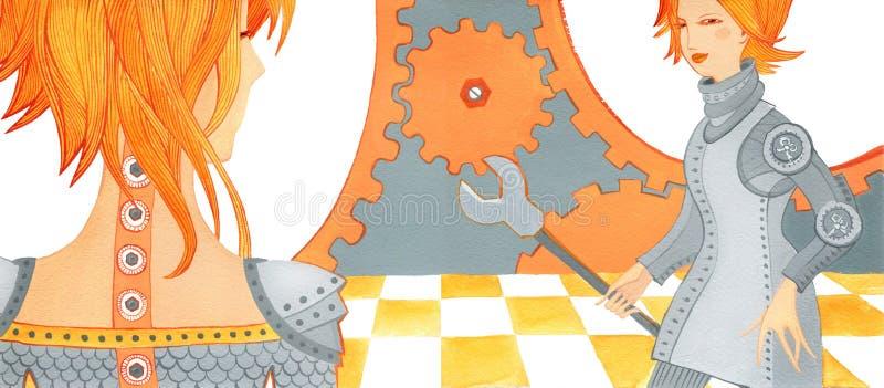 Muchacha con las juntas del problema, muchacha dos en armadura en fondo mecánico imágenes de archivo libres de regalías