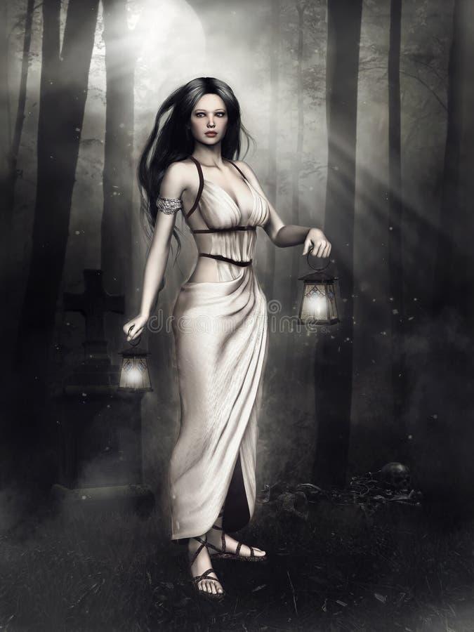 Muchacha con las linternas en un bosque oscuro ilustración del vector
