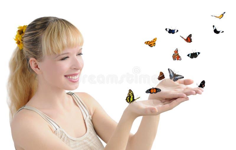 Muchacha con las mariposas fotografía de archivo