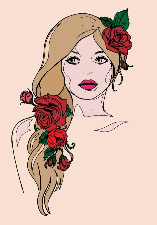 Muchacha con las rosas, postal del ejemplo stock de ilustración