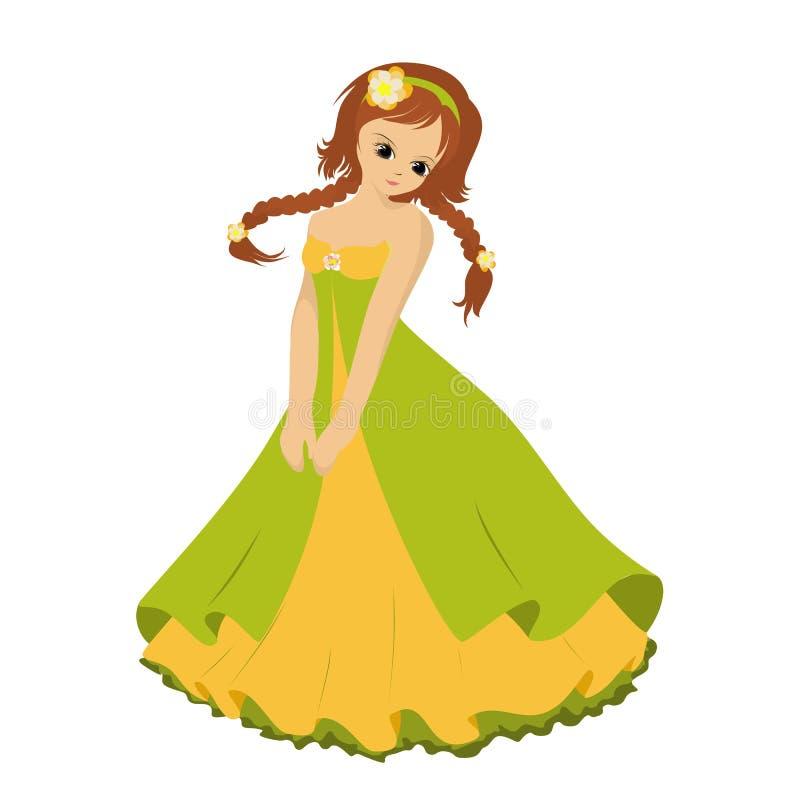Muchacha con las trenzas en el vestido de color verde amarillo, vector ilustración del vector