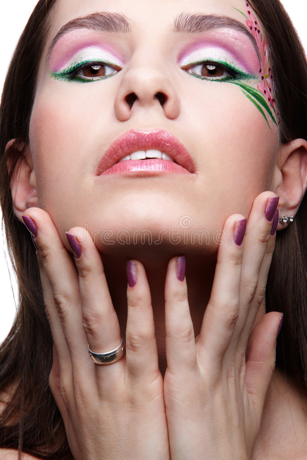Muchacha con las uñas violetas imágenes de archivo libres de regalías