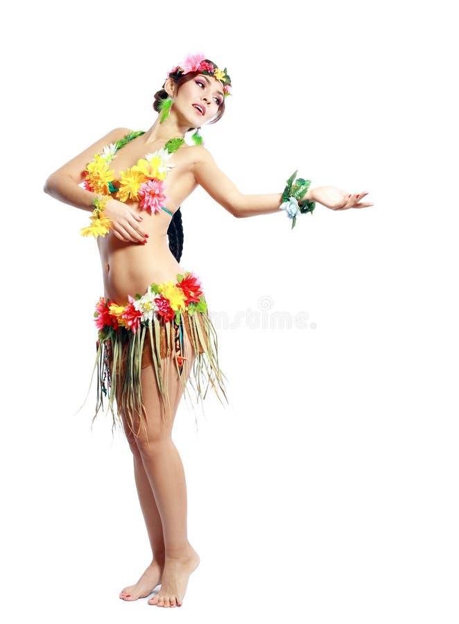 Muchacha con los accesorios hawaianos fotos de archivo