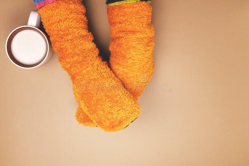 Muchacha con los calcetines coloreados café fotos de archivo libres de regalías