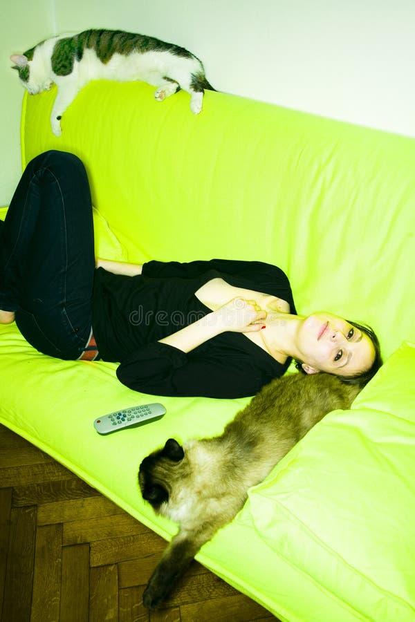 Muchacha con los gatos imagenes de archivo
