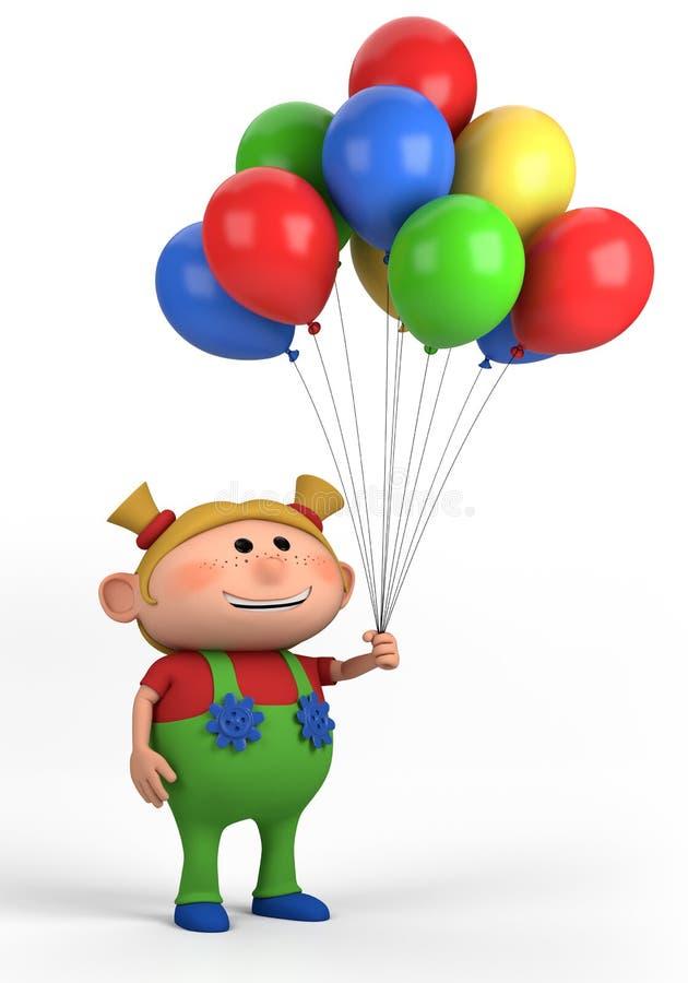 Muchacha con los globos stock de ilustración