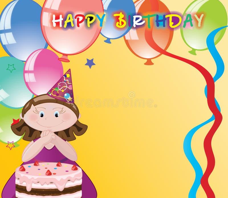 Muchacha con los globos, enhorabuena del cumpleaños. stock de ilustración