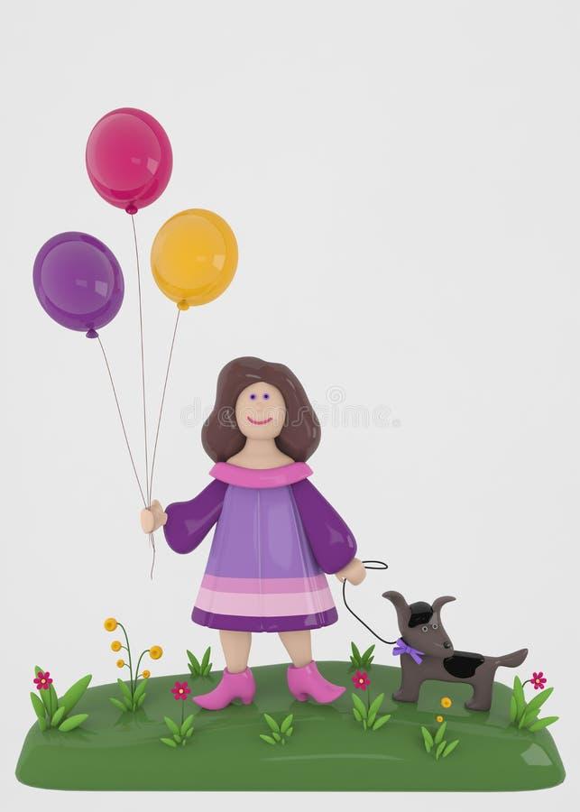 Muchacha con los globos y el perro foto de archivo