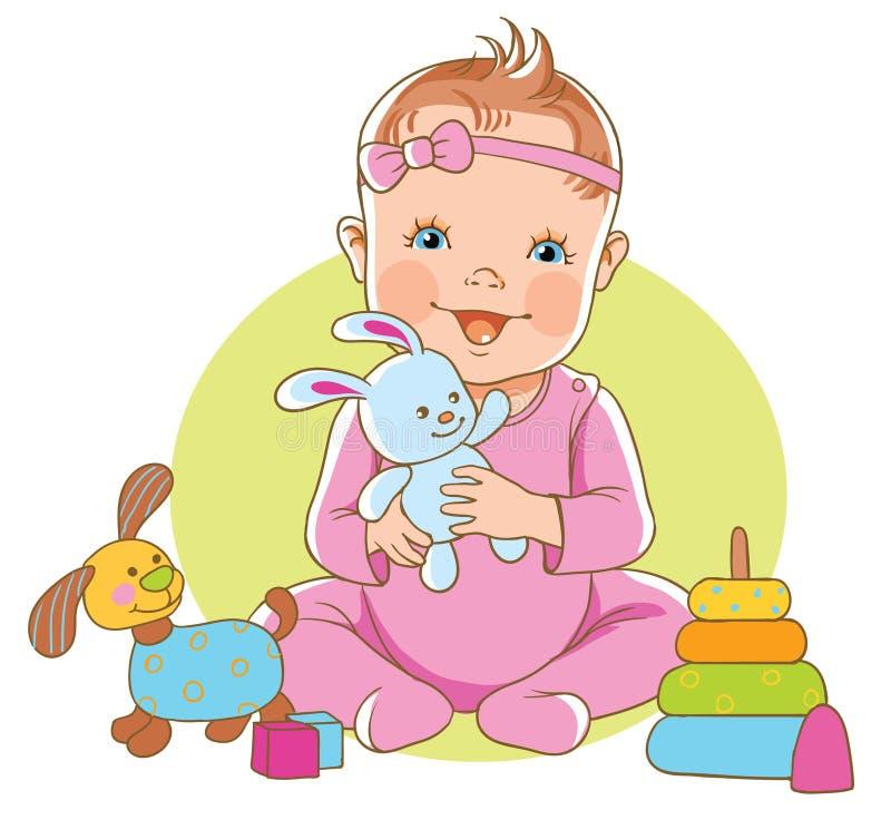 Muchacha con los juguetes stock de ilustración