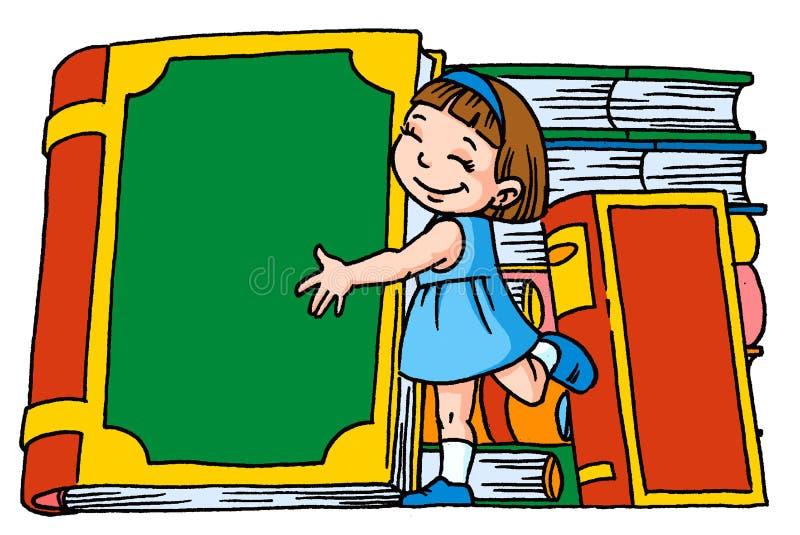 Muchacha con los libros stock de ilustración