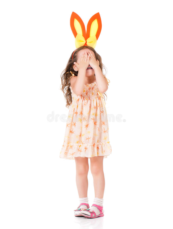 Muchacha con los oídos del conejito fotografía de archivo libre de regalías