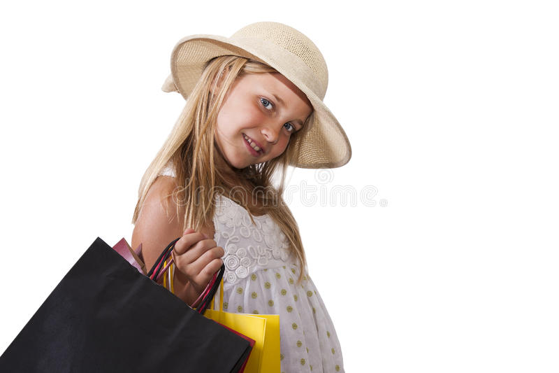 Muchacha con los panieres fotografía de archivo
