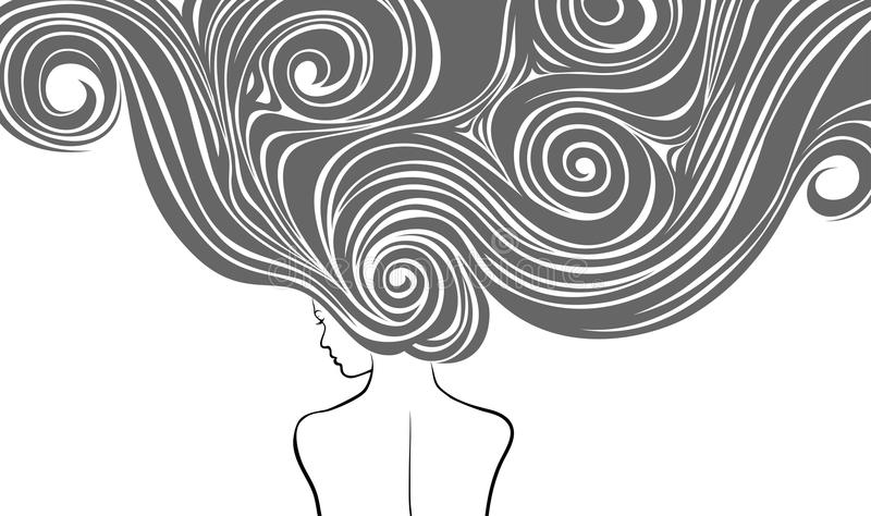 Muchacha con los pelos largos stock de ilustración