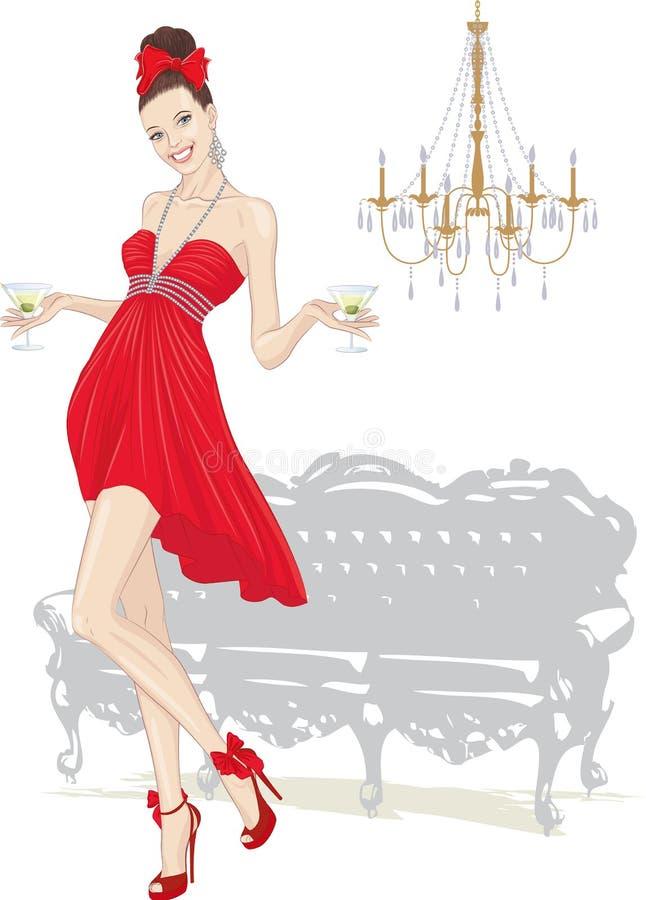 Muchacha con los vidrios de martini ilustración del vector