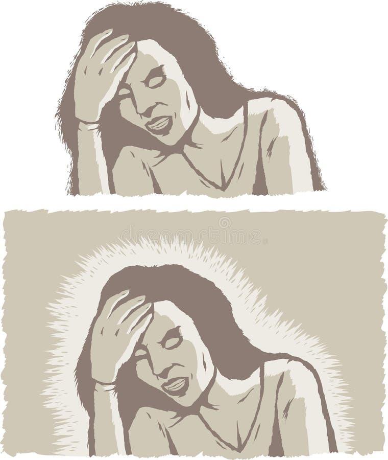Muchacha con mún dolor de cabeza ilustración del vector