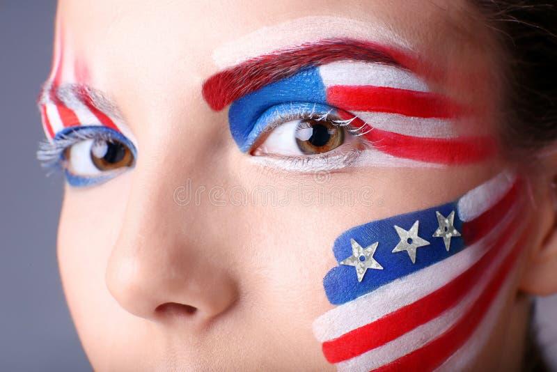 Muchacha con maquillaje de los E.E.U.U., primer imagen de archivo libre de regalías
