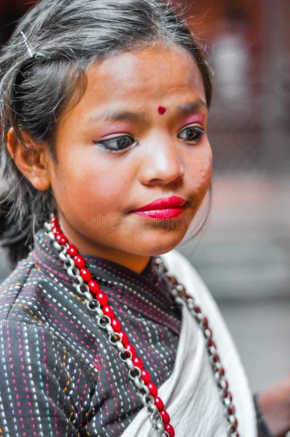 Muchacha con maquillaje en Nepal imagen de archivo